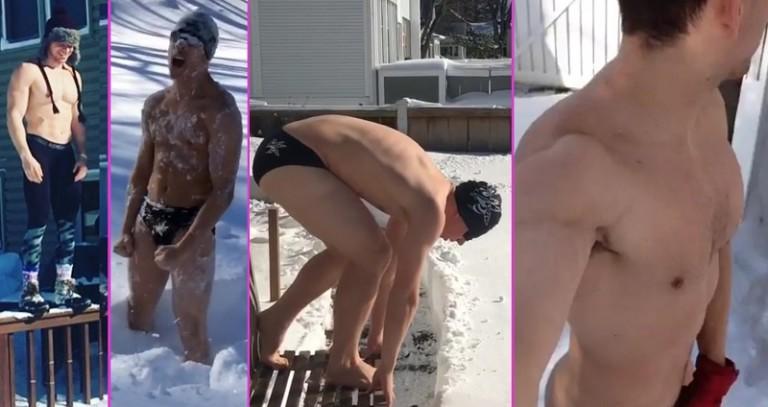 Hombres desnudos en la nieve