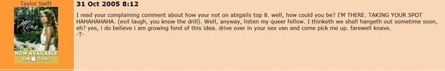 Taylor Swift en MySpace mensajes