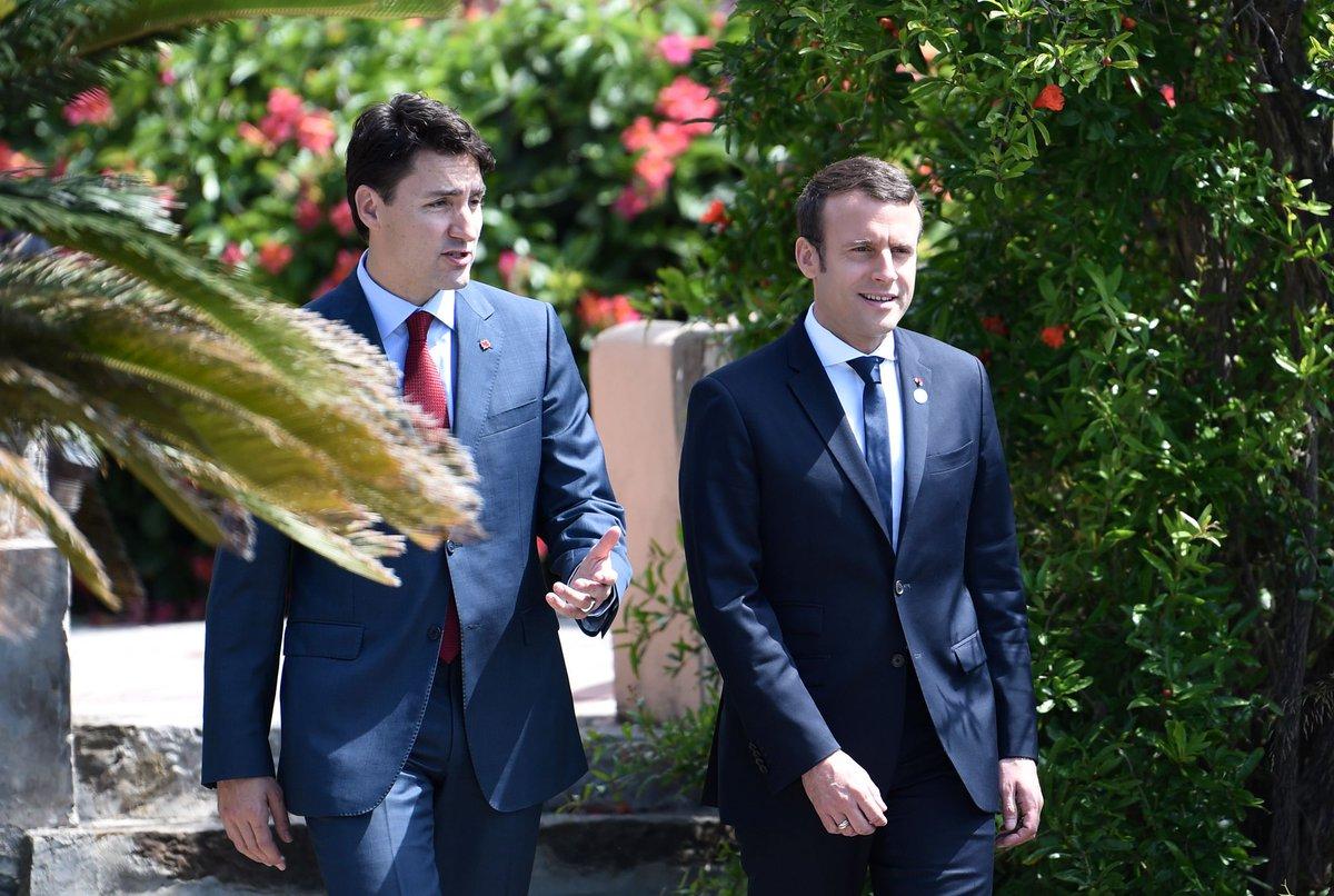 Emmanuel Macron y Justin Trudeau