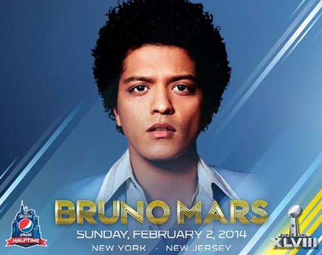 Bruno Mars actuará en el intermedio de la Super Bowl 2014