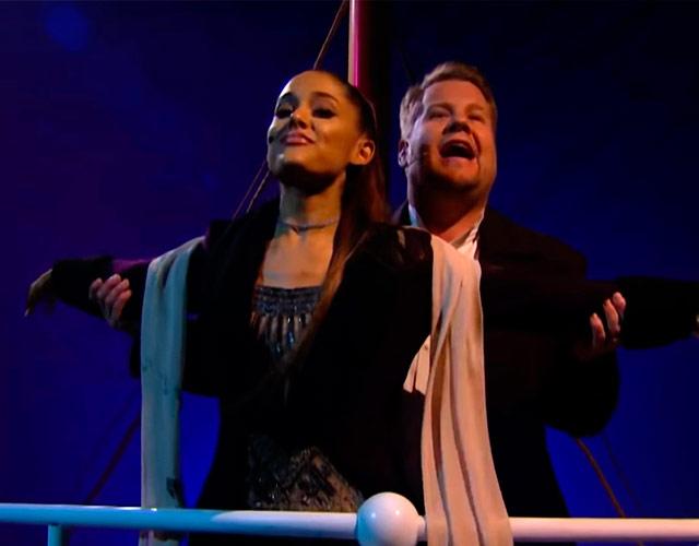 Ariana Grande y James Corden recrean
