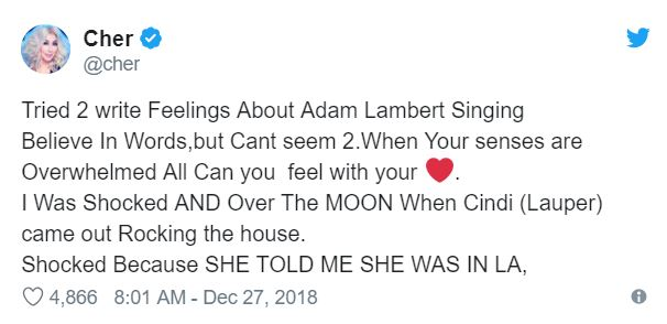 Cher's tweet about the performances from Lambert and Lauper