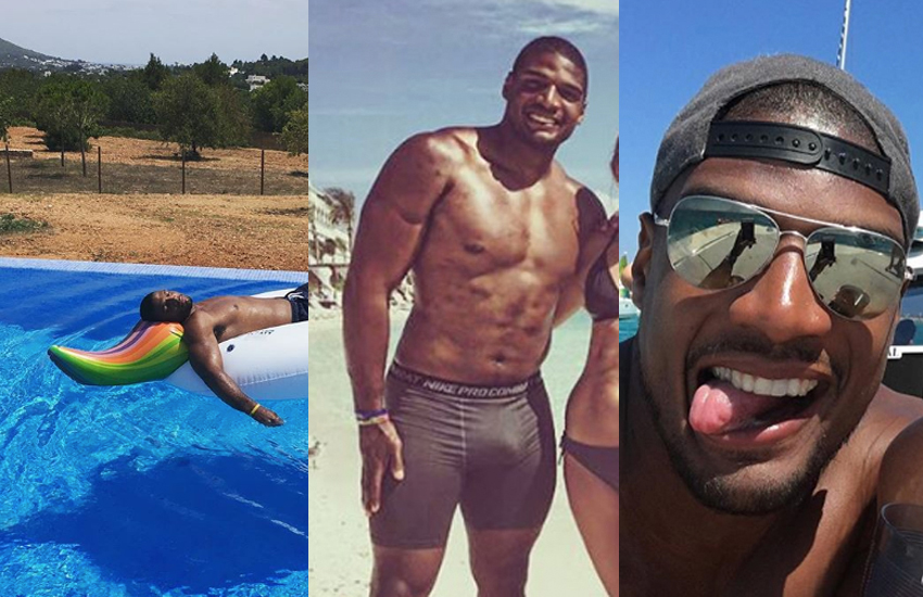 Three pictures of Michael Sam soaking up the sun
