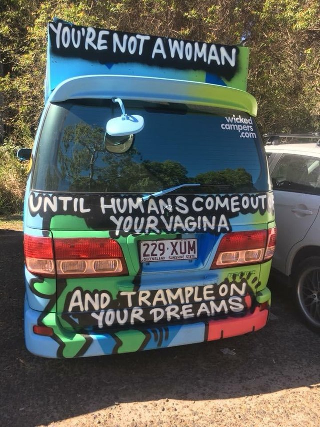 "The Wicked Campers branding was called ""just not right."" (Reddit, u/JustaNutMeg, r/gatekeeping)"