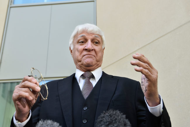 Bob Katter holds a joint press conference with George Christensen to discuss issues facing their rural electorates on February 14, 2018 in Canberra, Australia