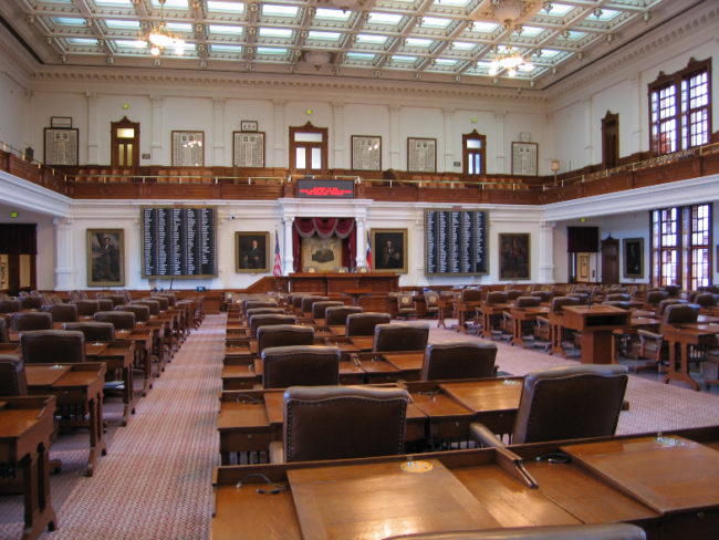 The Texas State House Chamber in the Capitol Building.