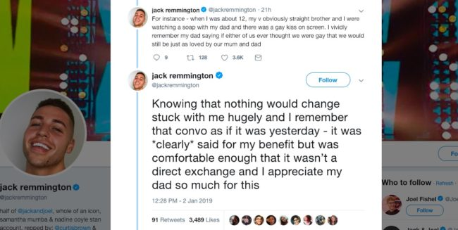 A post in the viral Twitter thread describing the advice two gay men gave a father looking to support his potentially gay son.