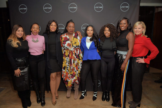 Lizzette Martinez, Andrea Kelly, Lisa Van Allen, Tarana Burke, Kitti Jones, Jerhonda Pace, Asante McGee and Gretchen Carlson attend Lifetime / NeueHouse Luminaries series 'Surviving R. Kelly' documentary screening.