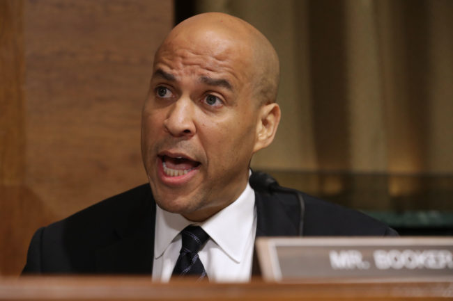 Senate Judiciary Committee member Sen. Cory Booker (D-NJ) delivers remarks about Supreme Court nominee Judge Brett Kavanaugh during a mark up hearing in the Dirksen Senate Office Building on Capitol Hill September 28, 2018 in Washington, DC