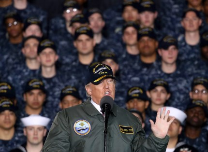Transgender troops ban: President Donald Trump speaks to members of the U.S. Navy and shipyard workers
