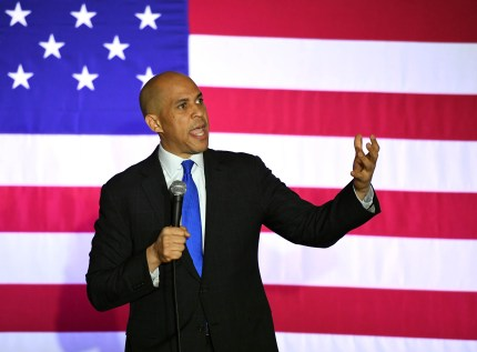 US Senator Cory Booker (D-NJ) speaks at his 'Conversation with Cory' campaign event at the Nevada Partners Event Center on February 24, 2019 in North Las Vegas, Nevada.