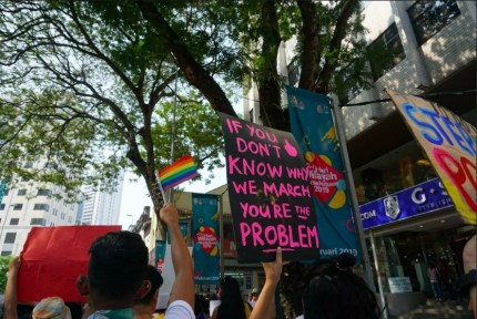 LGBT rainbow flag seen at the women's march in Malaysia.