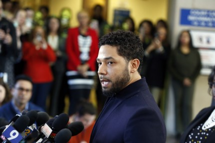 Actor Jussie Smollett speaks with members of the media after his court appearance at Leighton Courthouse on March 26, 2019 in Chicago, Illinois.