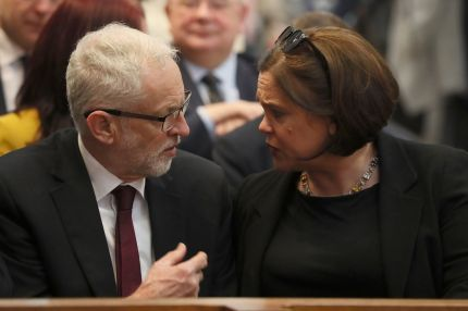Jeremy Corbyn and Irish Republican Sinn Fein party leader Mary Lou McDonald attend the funeral service of journalist Lyra McKee.