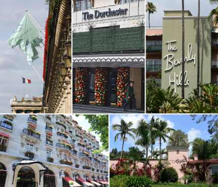 George Clooney boycott: Five of the nine Dorchester Collection hotels owned by Brunei: (top L-R) Hotel Meurice in Paris, The Dorchester in London, The Beverly Hills Hotel in Los Angeles, (bottom L-R) The Hotel Plaza Athenee in Paris and The Hotel Bel-Air in Los Angeles.