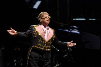 Sir Elton John performs during his 'Farewell Yellow Brick Road' tour at Madison Square Garden on October 18, 2018 in New York City.