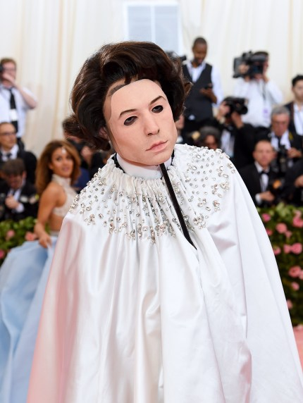 Ezra Miller sported a Burberry outfit at the Met Gala.