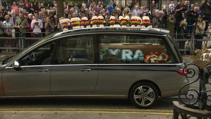 The hearse carrying Lyra McKee's coffin