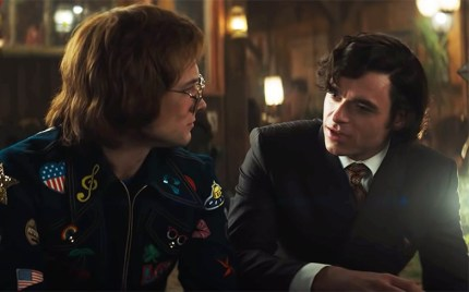 Taron Egerton and Richard Madden as Elton John and John Reid in Rocketman