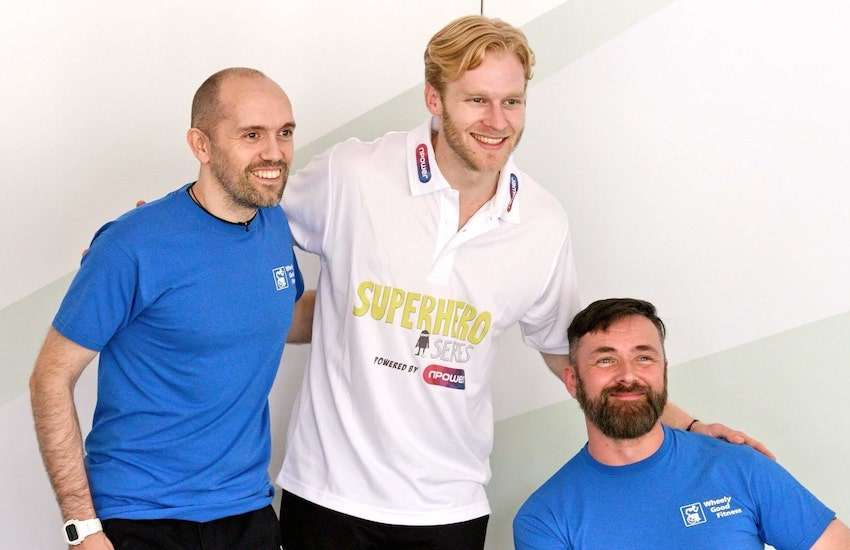 Husbands Kris (Right) and Deane (Left) Saunders-Stowe with Paralympian Jonnie Peacock featured in Kris: The Power of Support | Photo: Gay Star News / Jamie Wareham